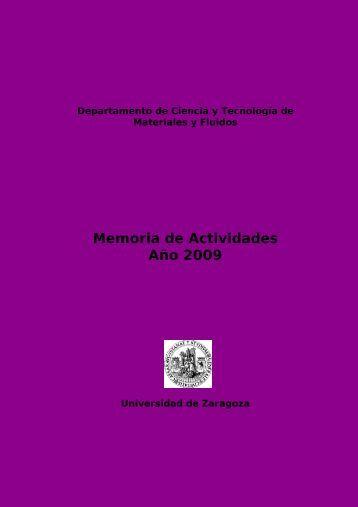 Memoria de Actividades Año 2009 - Universidad de Zaragoza