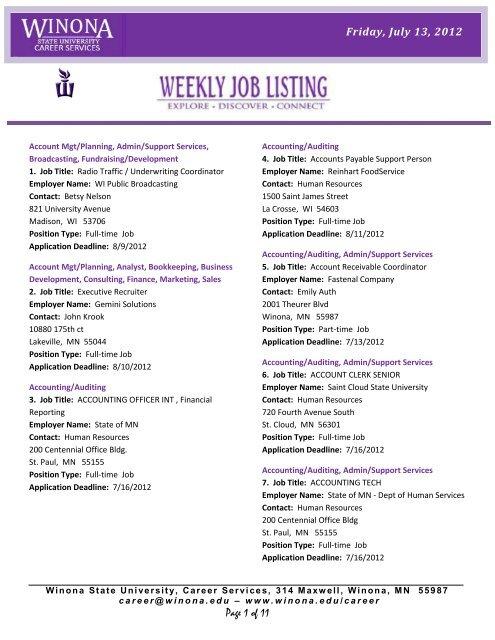 Weekly Job Listing Winona State University