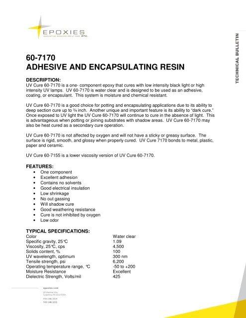 60-7170 ADHESIVE AND ENCAPSULATING RESIN - Epoxies, Etc