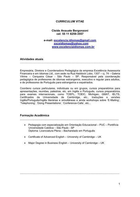 1 Curriculum Vitae Cleide Anauate Bergonzoni Cel 55 11 8259