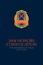 2008 HONORS CONVOCATION - University of Texas at El Paso