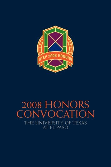 2008 HONORS CONVOCATION - University of Texas at El Paso