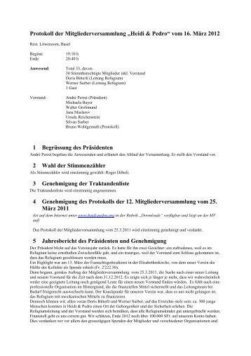 Protokoll der Vorstandssitzung Heidi & Pedro vom 26