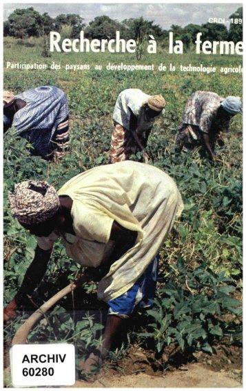 Recherche à la ferme: participation des paysans au développement ...