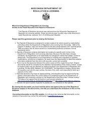 WISCONSIN DEPARTMENT OF REGULATION & LICENSING