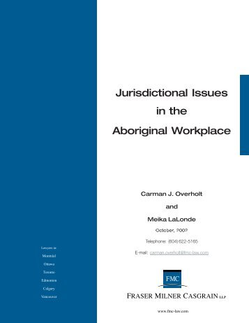 Jurisdictional Issues In The Aboriginal Workplace