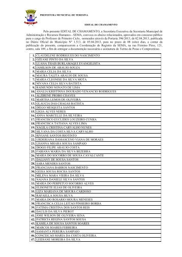 EDITAL DE CHAMAMENTO - Prefeitura Municipal de Teresina