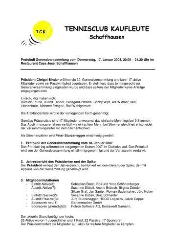 Protokoll - Tennisclub Kaufleute Schaffhausen