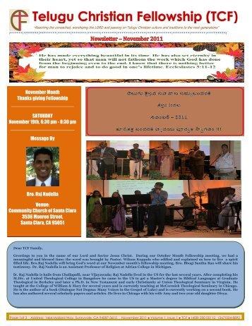 November Month Thanks giving Fellowship - Telugu Christian ...