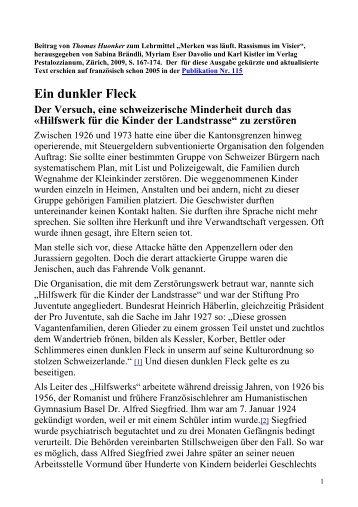 Ein dunkler Fleck Der Versuch, eine - Thomas Huonker