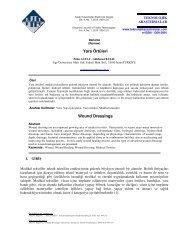 Yara Örtüleri Wound Dressings - Gıda Teknolojileri Elektronik Dergisi