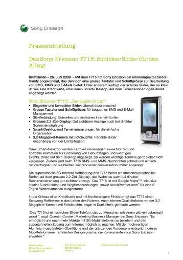 Pressemitteilung Das Sony Ericsson T715: Schicker ... - vademecom