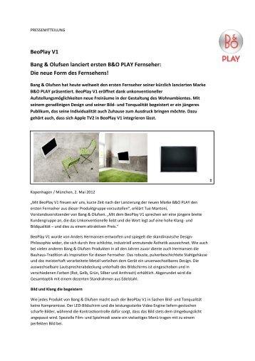 BeoPlay V1 Bang & Olufsen lanciert ersten B&O PLAY ... - vademecom