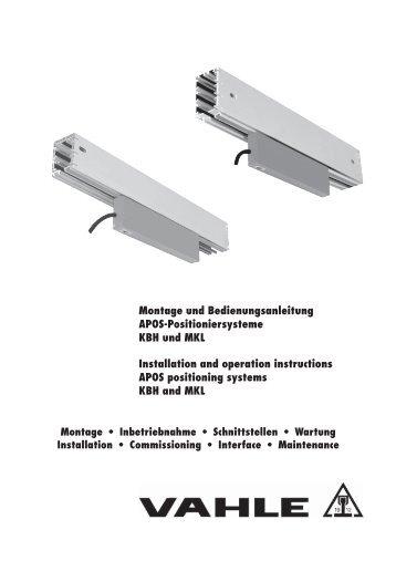 Montage und Bedienungsanleitung APOS ... - Vahle