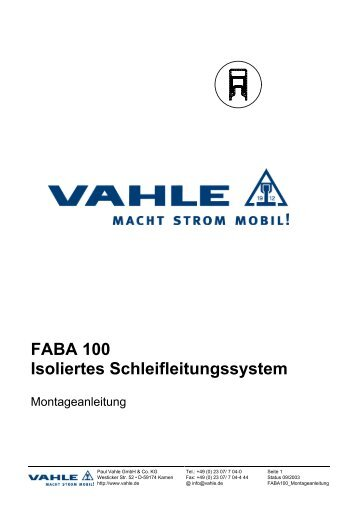 Montageanleitung FABA 100 - Vahle