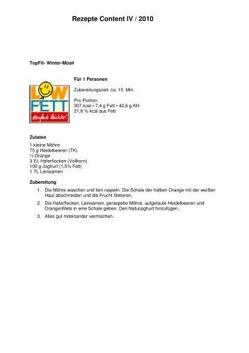 Rezepte Content IV / 2010 - Vaillant BKK