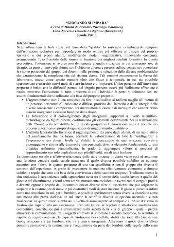 """1 """"GIOCANDO SI IMPARA"""" a cura di Diletta de Bernart (Psicologo ..."""