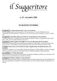 n. 23 - novembre 2003 IN QUESTO NUMERO - Teatri di vita