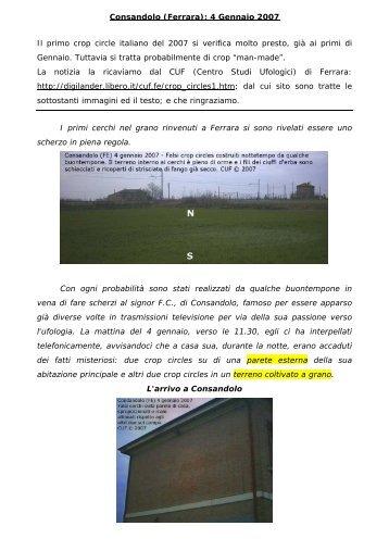 Consandolo (Ferrara): 4 Gennaio 2007 - crop circles, cerchi nel grano