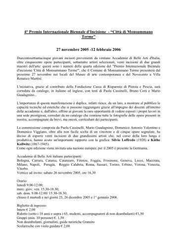 """4° Premio Internazionale Biennale d'Incisione - """"Città di ..."""