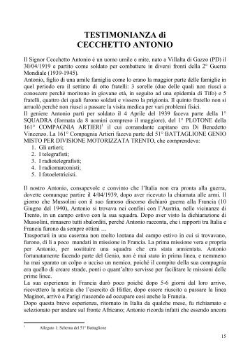 TESTIMONIANZA di CECCHETTO ANTONIO - gazzoedintorni.net