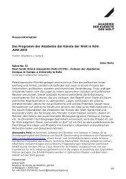 Das Programm der Akademie der Künste der Welt in Köln JUNI 2013