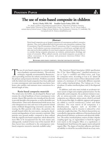 The use of resin-based composite in children - American Academy ...