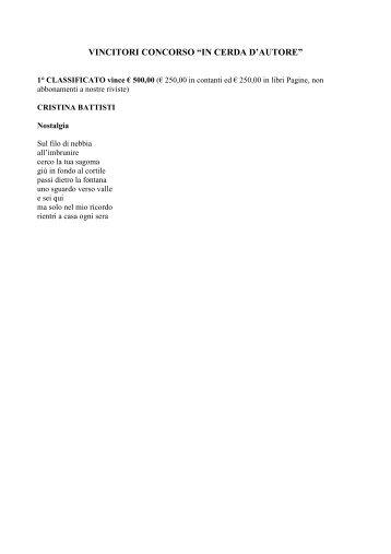 VINCITORI_CONCORSO IN CERCA D'AUTORE - Poeti e Poesia