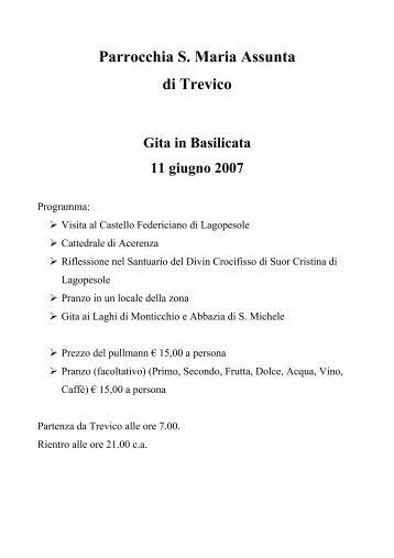 Parrocchia S. Maria Assunta di Trevico Gita in Basilicata 11 giugno ...