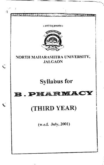 Syllabus for (THIRD YEAR) - North Maharashtra University