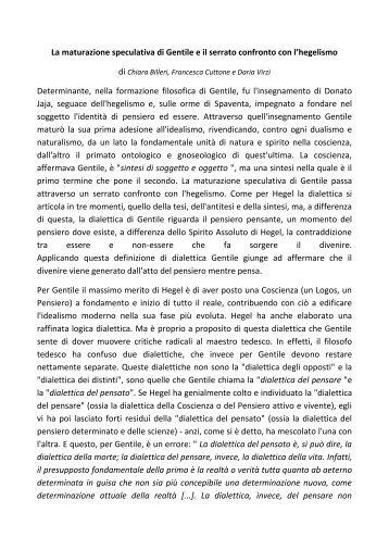 La maturazione speculativa di Gentile attraverso il ... - Liceo magistrale