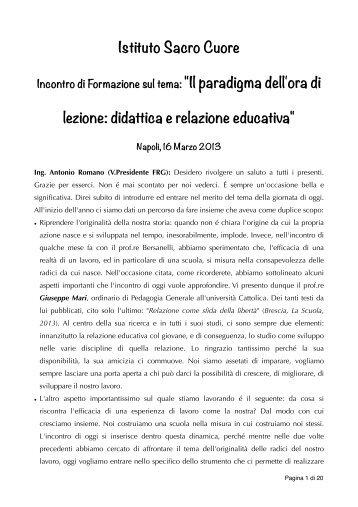 Incontro sulla didattica breve e la relazione educativa - Istituto Sacro ...