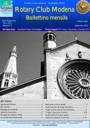 Bollettino N. 3 del settembre 2012 - Rotary Club Modena