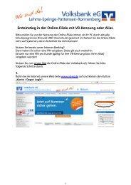 Ersteinstieg Online-Filiale mit VR-Kennung - Volksbank eG