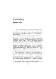 Frédérique Decoin La règle du jeu - Ecole de Psychanalyse des ...