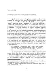 François Balmès : L'expérience analytique comme expérience de l'être