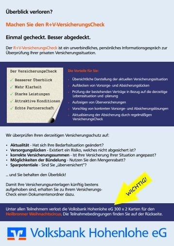 Teilnahmeschein - Volksbank Hohenlohe eG