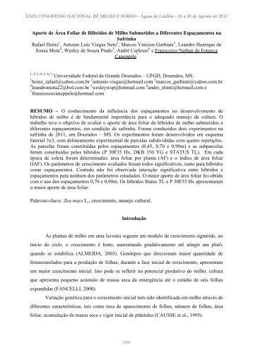 Modelo de Artigo - Associação Brasileira de Milho e Sorgo
