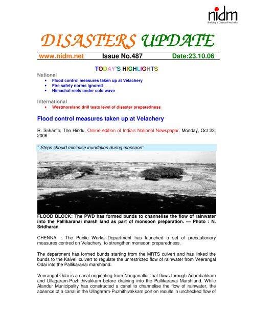 Flood control measures taken up at Velachery - NIDM
