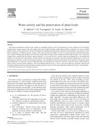 Water activity and the preservation of plant foods - DePa
