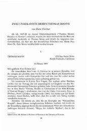 ZWEI UNBEKANNTE BRIEFE THOMAS MANNS von Hans Eichner