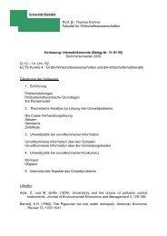 Prof. Dr. Thomas Eichner Fakultät für Wirtschaftswissenschaften ...