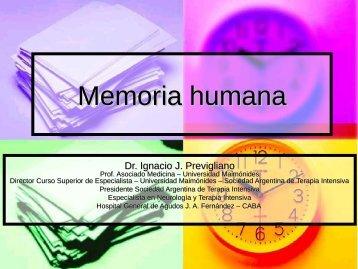 Memoria humana - Dr. Ignacio Previgliano