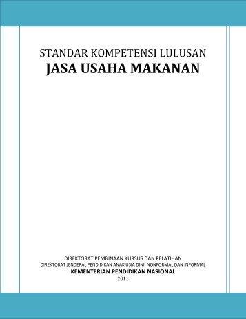 JASA USAHA MAKANAN - Direktorat Pembinaan Kursus & Pelatihan