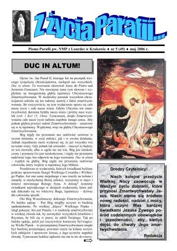 DUC IN ALTUM! - Parafia Najświętszej Maryi Panny z Lourdes w ...