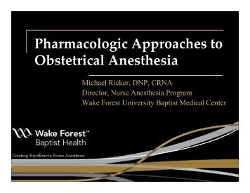 Pharmacologic Approaches to Obstetrical Anesthesia