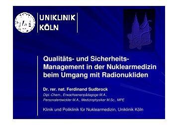110713_QM-undSicherheitsmanagement in der ... - Uniklinik Köln