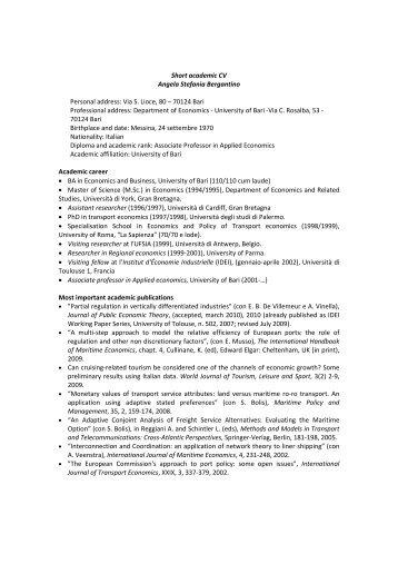 Curriculum vitae inglese - Università degli Studi di Bari