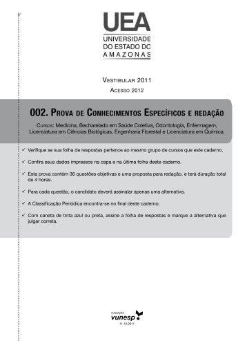 Provas de conhecimentos específicos - Prova 02 - Vestibular