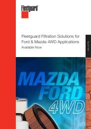 Fleetguard Filtration Solutions for Ford & Mazda 4WD Applications